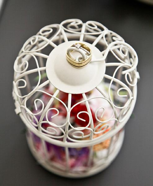 Cage à oiseaux en urne de mariage