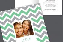 Faire part mariage photo avec chevrons couleur modifiable.